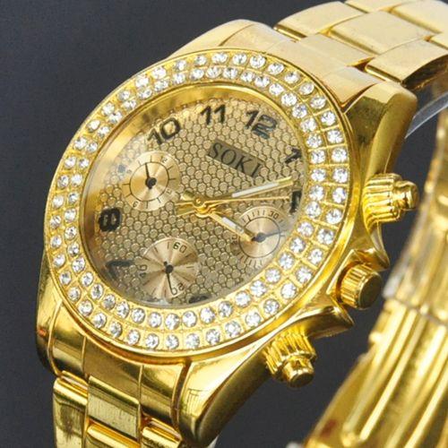 Золотистые наручные женские часы