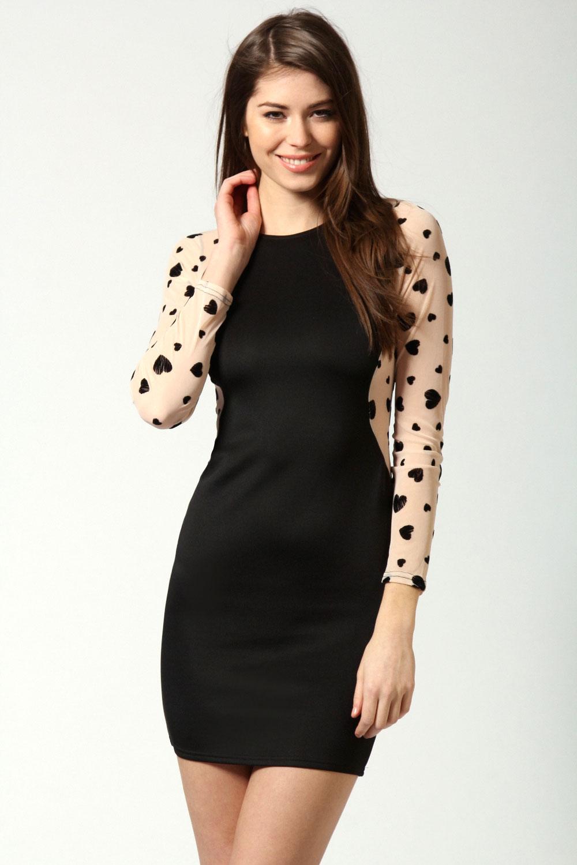 5ee2f090c92 Черное платье с прозрачными рукавами